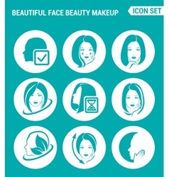 set of round icons white Beautiful face beauty vector image