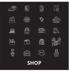 shop editable line icons set on black vector image