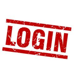 Square grunge red login stamp vector