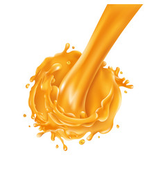 Stream pouring orange juice on a white vector