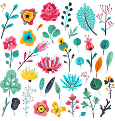 Summer flat flowers floral garden flowering vector