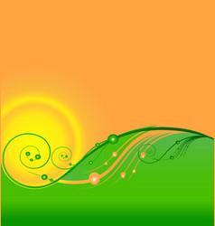 swirly hills and green spring field flowers icon vector image
