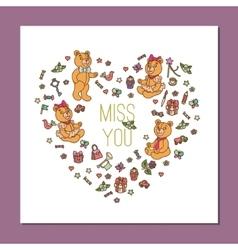 template with cute Teddy Bear vector image