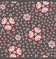 tossed pretty floral red cream and pink vector image