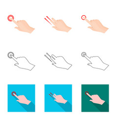 Touchscreen and hand icon vector