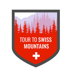 tour to swiss alps - coat arms blazon vector image