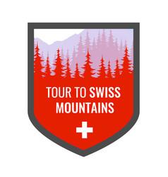 Tour to swiss alps - coat arms blazon vector