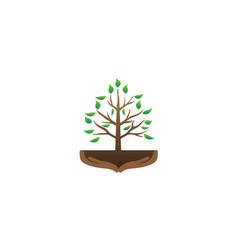 tree and hands with branches and leaves vector image