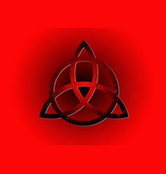 triquetra logo trinity knot sign wiccan symbol vector image