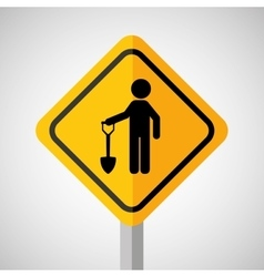 Under construction road sign man and shovel vector