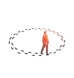 Vicious circle monotony concept sketch hand vector