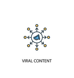 viral content concept 2 colored icon simple blue vector image