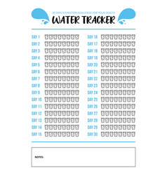 Water tracker printable a4 template vector