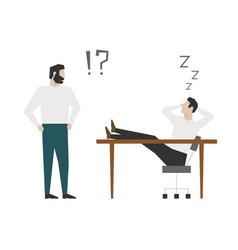 worker sleeping behind his desk during working vector image