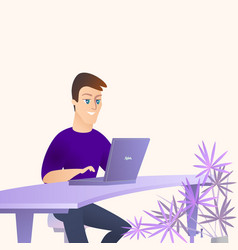 young handsome man working on laptop in office vector image