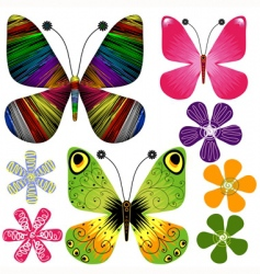 set abstract butterflies and flowers vector image vector image