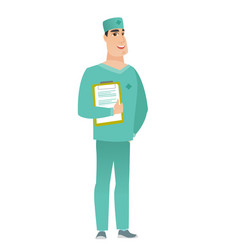 surgeon holding clipboard with papers vector image vector image