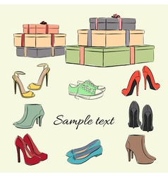 Various fashionable color shoes and boxes vector image vector image