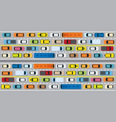 vehicles on road with traffic jam vector image