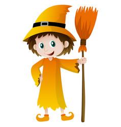 wizard holding magic broom vector image