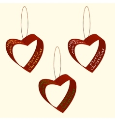 Spruce decorations of hearts ribbons Christmas and vector image vector image