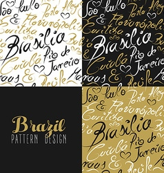 Travel brazil south america rio city pattern gold vector image