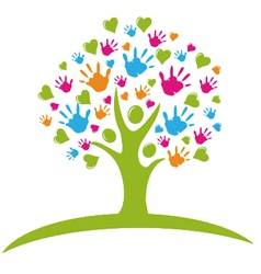 Tree with hands and hearts vector image vector image