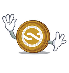 waving nxt coin character cartoon vector image vector image