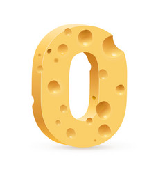 cheese font o letter on white vector image vector image