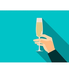 Hand with glass of champagne in flat style vector image