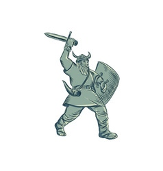 Viking Warrior Striking Sword Etching vector image vector image