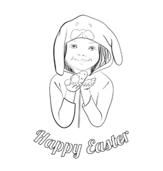 Easter greeting outline card for coloring vector image vector image