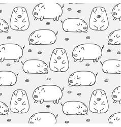 hand drawn cute pig pattern vector image vector image