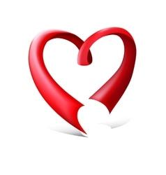 Red glossy ribbon heart vector image vector image