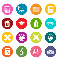 school icons many colors set vector image vector image