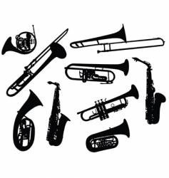 silhouettes of wind instruments vector image vector image