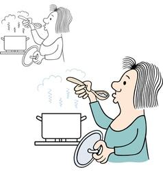 Woman tasting food vector image