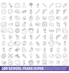 100 school years icons set outline style vector image
