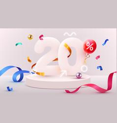 20 percent off discount creative composition 3d vector