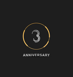 3 anniversary logotype with silver number vector