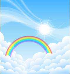 Above clouds blue sky with sun and rainbow vector