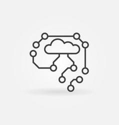ai cyberbrain outline icon - brain concept vector image