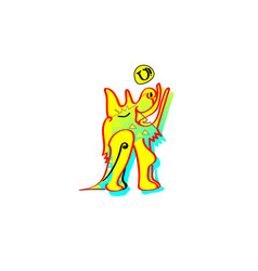 Animal emotion cartoon howling the moon yellow vector