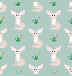 Animal seamless pattern small cute fennec with vector