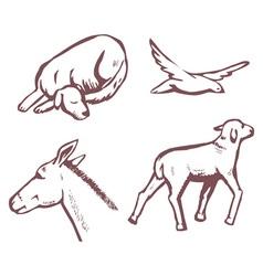 Animals sketch vector