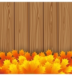 Autumn maple leaf on wooden boards background vector