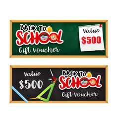 back to school gift voucher template with vector image