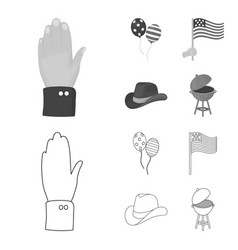 Balloons national flag cowboy hat palm hand vector