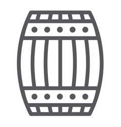 Barrel line icon container and storage wooden vector