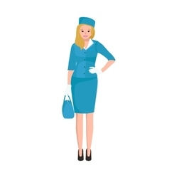 Blonde woman stewardess in blue uniform vector